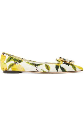 DOLCE & GABBANA Embellished printed cotton-jacquard point-toe flats