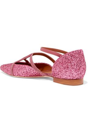 MALONE SOULIERS Veronica glittered leather point-toe flats