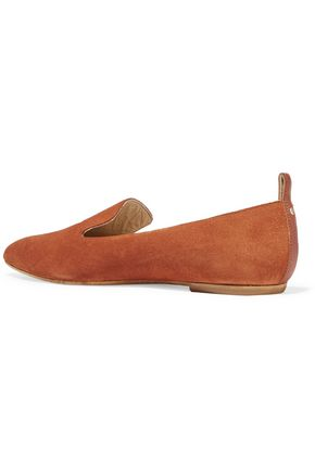 ATP ATELIER Greta leather-trimmed suede point-toe flats