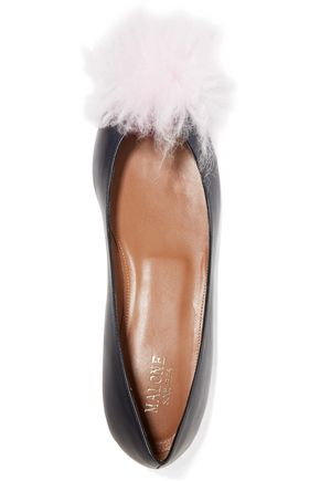MALONE SOULIERS Penny shearling-trimmed leather point-toe flats