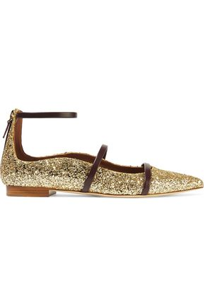 MALONE SOULIERS Robyn glittered leather pointed-toe flats