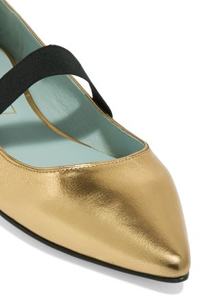 MARC JACOBS Hasley metallic leather point-toe ballet flat