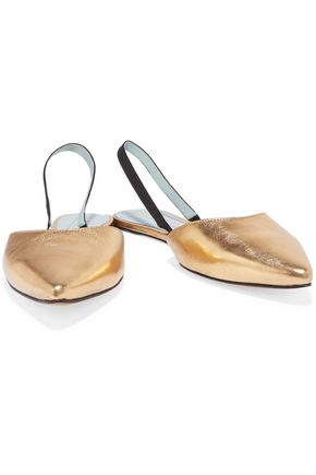 MARC JACOBS Joline metallic texured-leather point-toe flats