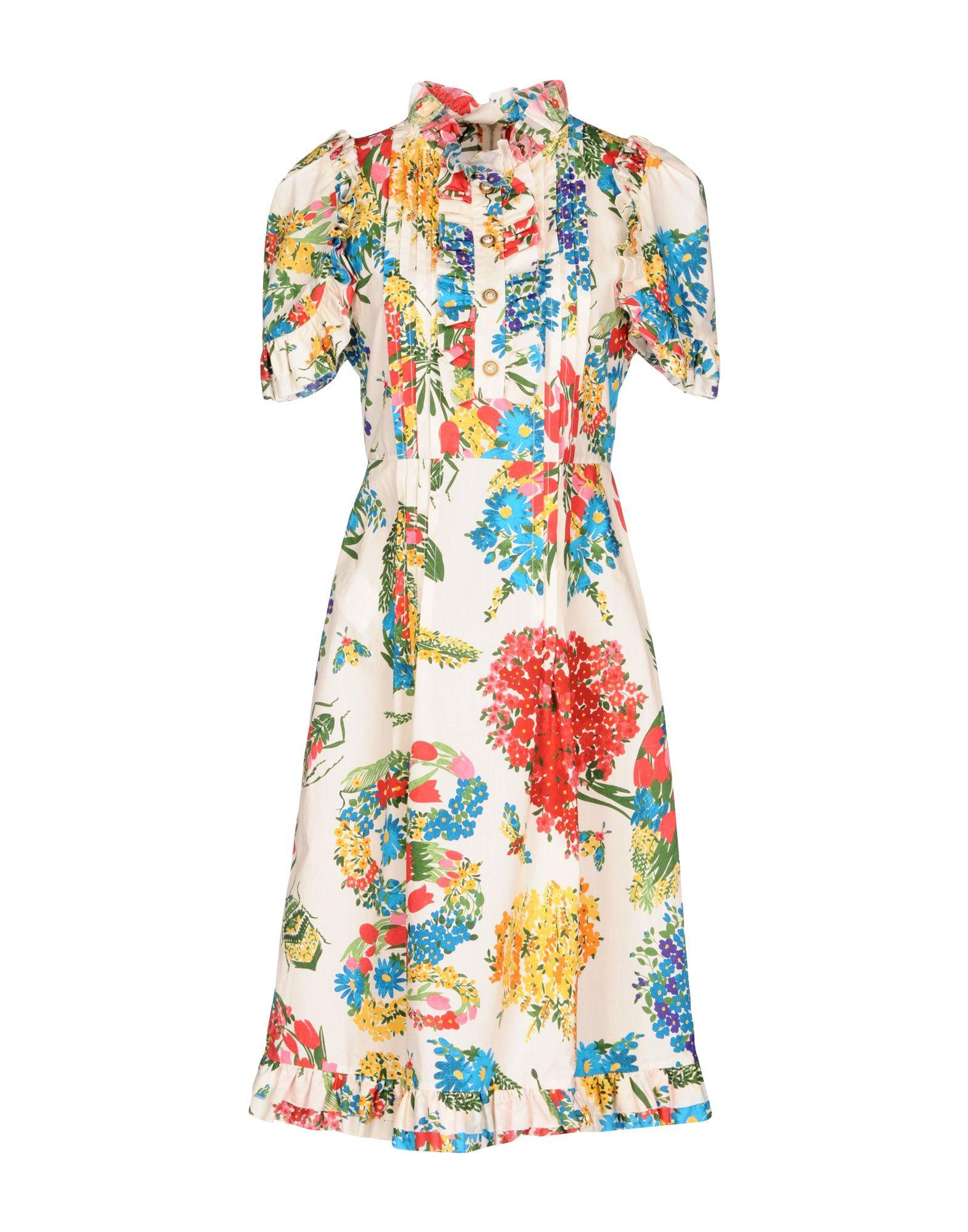 GUCCI Damen Knielanges Kleid Farbe Elfenbein Größe 3