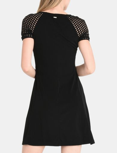 CUT OUT SLEEVE FIT AND FLARE DRESS
