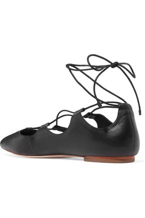 LOEFFLER RANDALL Ambra lace-up leather point-toe flats