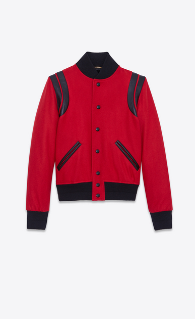 SAINT LAURENT Casual Jackets Woman Varsity jacket in red virgin wool a_V4