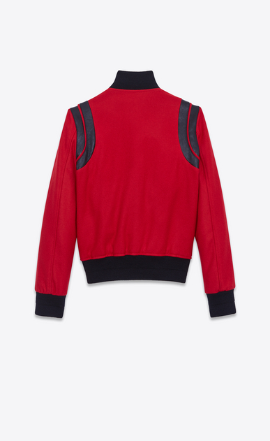 SAINT LAURENT Casual Jackets Woman Varsity jacket in red virgin wool b_V4