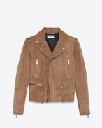 SAINT LAURENT Leather jacket D Biker jacket in light taupe suede f