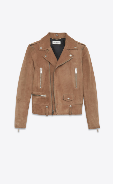 SAINT LAURENT Leather jacket Woman Biker jacket in light taupe suede a_V4