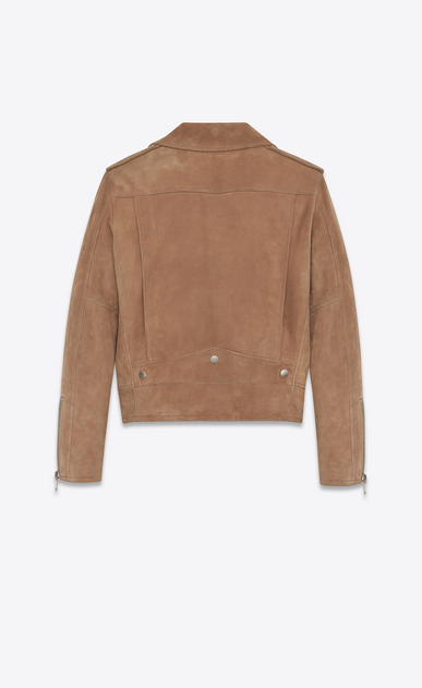SAINT LAURENT Leather jacket D Biker jacket in light taupe suede b_V4