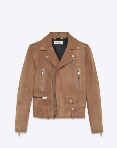 Suede Biker Jacket in Brown