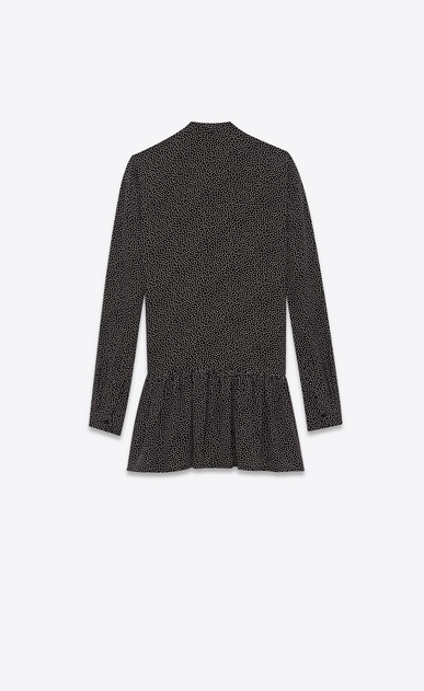 SAINT LAURENT Dresses D Mini lavallière dress in black crepe de chine with a snowflake print b_V4