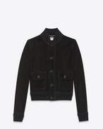 SAINT LAURENT Giacca di Pelle D Jacket with two patch pockets in black suede f