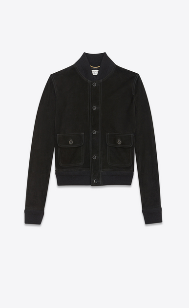 SAINT LAURENT Leather jacket Woman Jacket with two patch pockets in black suede a_V4
