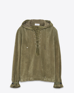 SAINT LAURENT Giacca di Pelle D Oversized hoodie in military green Crosta suede f
