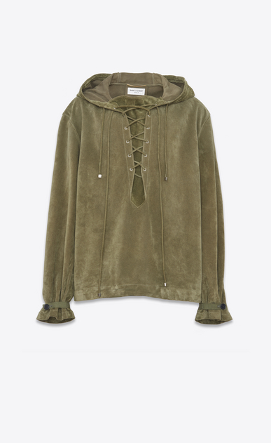 SAINT LAURENT Leather jacket D Oversized hoodie in military green Crosta suede a_V4