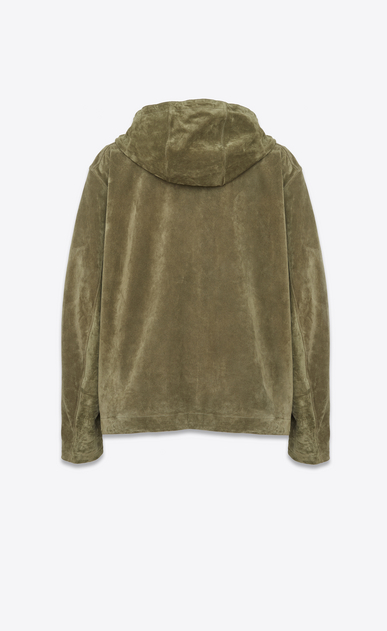 SAINT LAURENT Leather jacket D Oversized hoodie in military green Crosta suede b_V4