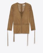 SAINT LAURENT Vestiti D Laced caftan dress in tobacco suede f