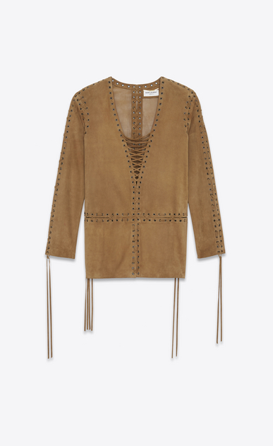 SAINT LAURENT Dresses D Laced caftan dress in tobacco suede a_V4