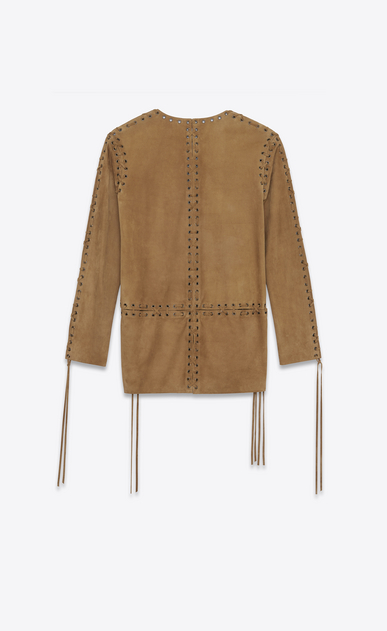 SAINT LAURENT Dresses D Laced caftan dress in tobacco suede b_V4