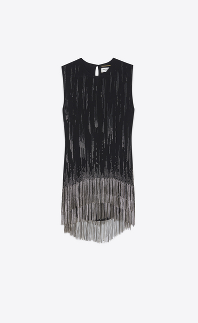 SAINT LAURENT Dresses Woman Mini embroidered tube dress in washed black Georgette silk a_V4