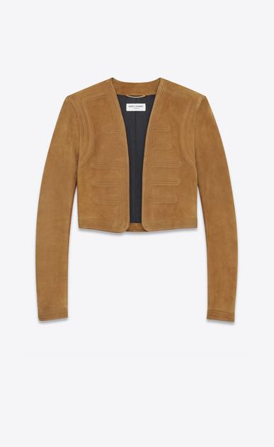 SAINT LAURENT Leather jacket D Hunter jacket in bourbon suede v4