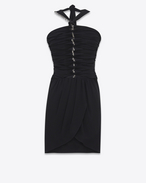 SAINT LAURENT Vestiti D Mini embroidered tube dress in washed black Georgette silk f