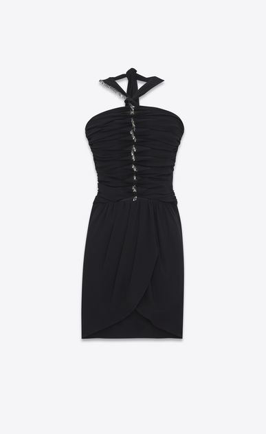 SAINT LAURENT Dresses D Mini embroidered tube dress in washed black Georgette silk a_V4