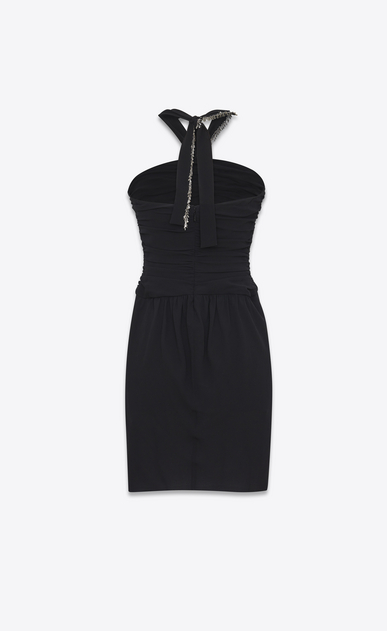 SAINT LAURENT Dresses Woman Mini embroidered tube dress in washed black Georgette silk b_V4