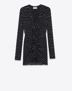 SAINT LAURENT Vestiti D Ruffled mini dress in black crepe with white polka dots f