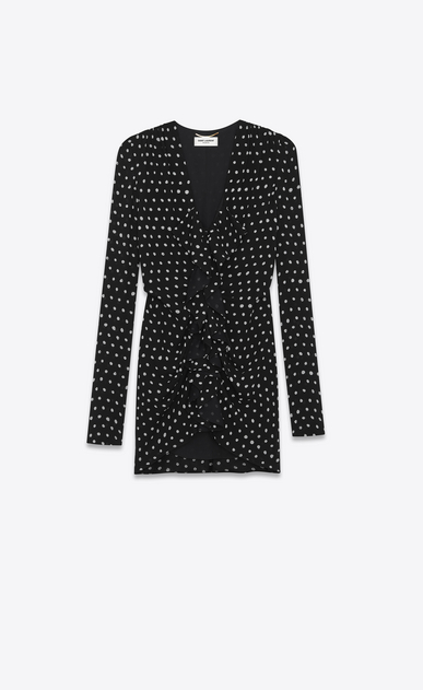 SAINT LAURENT Dresses Woman Ruffled mini dress in black crepe with white polka dots a_V4