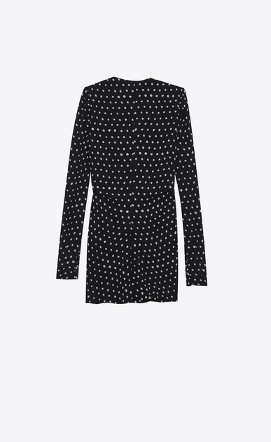 SAINT LAURENT Dresses Woman Ruffled mini dress in black crepe with white polka dots b_V4