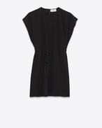 SAINT LAURENT Dresses D Flowing caftan dress with tassels in black crepe de chine f