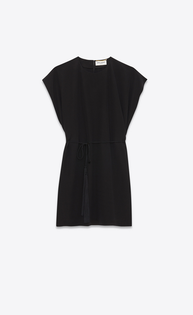 SAINT LAURENT Dresses Woman Flowing caftan dress with tassels in black crepe de chine a_V4