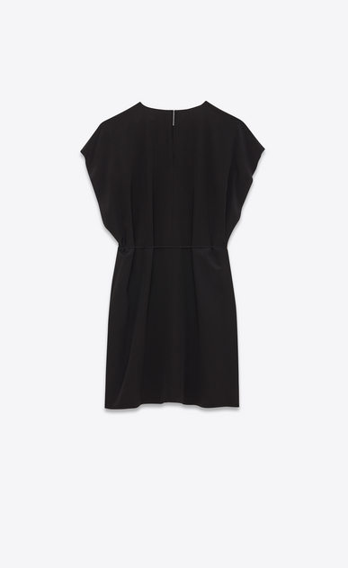 SAINT LAURENT Dresses Woman Flowing caftan dress with tassels in black crepe de chine b_V4