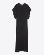 SAINT LAURENT LONG DRESSES D Long embroidered and tasseled caftan dress in washed black silk f