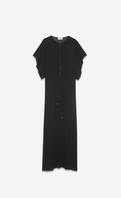 SAINT LAURENT LONG DRESSES D Long embroidered and tasseled caftan dress in washed black silk a_V4