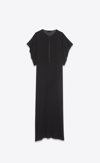 SAINT LAURENT LONG DRESSES D Long embroidered and tasseled caftan dress in washed black silk b_V4