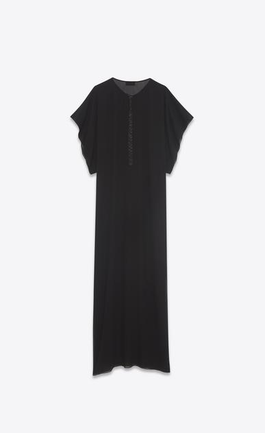 SAINT LAURENT VESTITI LUNGHI D Caftano lungo ricamato con nappine in seta lavata nera b_V4
