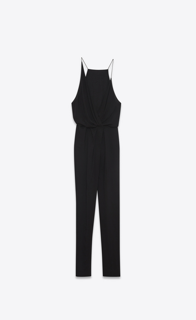 SAINT LAURENT LONG DRESSES D Combination pants in black viscose voile a_V4