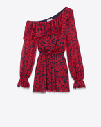 SAINT LAURENT Vestiti D Mini dress with asymmetric ruffle in black Georgette silk printed with red poppies f