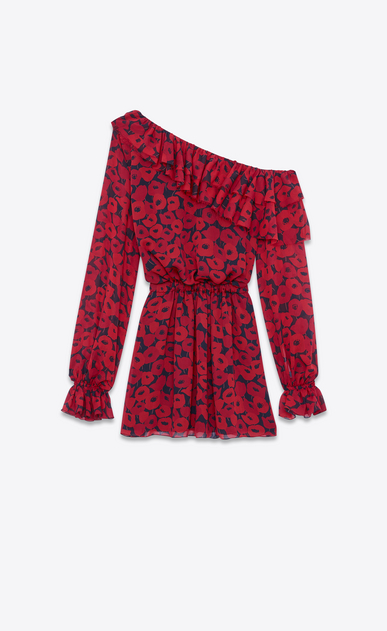 SAINT LAURENT Dresses Woman Mini dress with asymmetric ruffle in black Georgette silk printed with red poppies b_V4