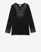 SAINT LAURENT Vestiti D Caftan dress embroidered with mirrors in black suede f