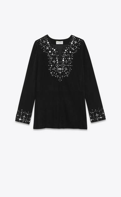 SAINT LAURENT Dresses Woman Caftan dress embroidered with mirrors in black suede a_V4
