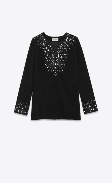 SAINT LAURENT Kleider D Kaftankleid aus schwarzem Velours mit Spiegelchenbesatz a_V4