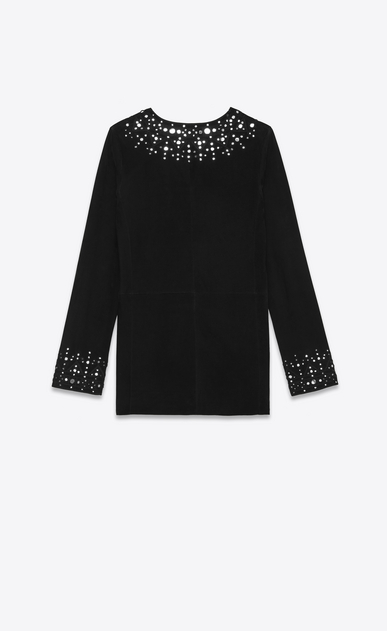 SAINT LAURENT Dresses Woman Caftan dress embroidered with mirrors in black suede b_V4