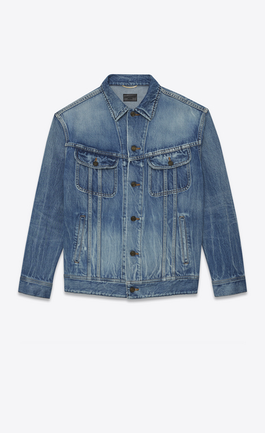 SAINT LAURENT Casual Jackets D Oversized jeans jacket in blue denim a_V4