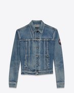 SAINT LAURENT Casual Jackets D Jeans jacket with badge in faded blue denim f