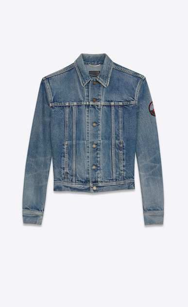 SAINT LAURENT Giacche Casual Donna Giacca di jeans con badge in denim blu delavé a_V4
